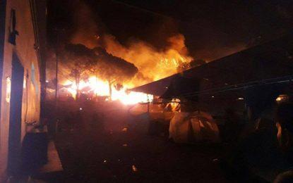 Лагерът за бежанци на остров Лесбос пламна