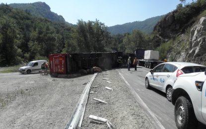 Камион с прасета се обърна и затвори частично пътя през Кресна