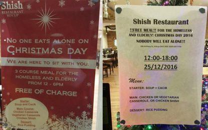 Турски ресторант ще храни гладни лондончани на Коледа