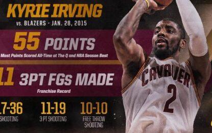 """Избрано от НБА: Кайри Ървинг вкара 55 точки и победния кош срещу """"Блейзърс"""""""