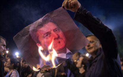 Нощ на протести и контрапротести в Македония