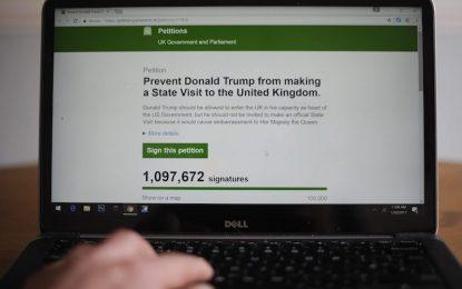 Милион британци срещу визитата на Тръмп в Лондон